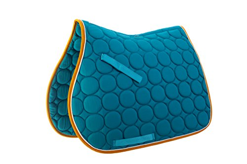 Roma Circle Quilt AP Saddle Pad Aqua/White/Gold