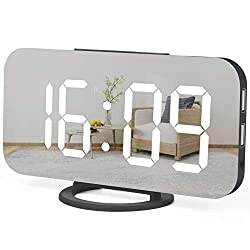 WulaWindy Digital Alarm Clock, Large Mirrored LED Display, with USB Charger, Snooze Function Dim Mode Wall Hanging Beside Desk Clock for Bedroom (Black)