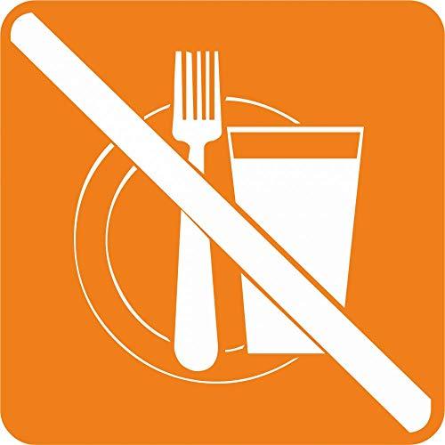Schild: Piktogramm Essen und Trinken verboten - Aluverbundschild 150 x 150 mm nachleuchtend