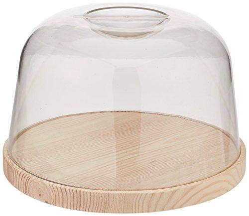 Fackelmann Tapa acrílica Quesera Tabla Cortar Cocina Conservación Embutidos Queso Pan Torta Campana Redonda, Ø23,5x15cm, 1ud, Madera Natural/Transparente, 23,5 x 15 Cm
