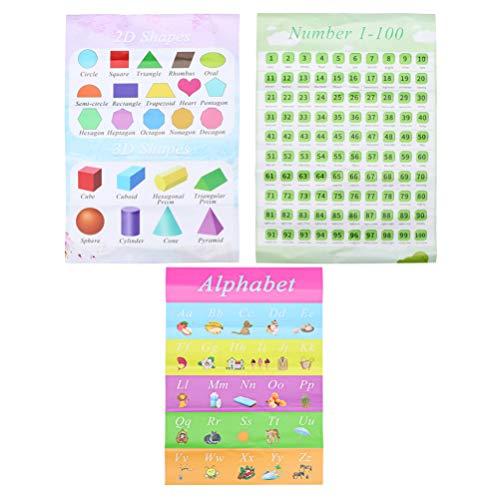 NUOBESTY Educatieve Preschool Posters Voor Peuters Kinderen Alfabet Abc Nummers Vormen Grafiek Met Plakpunt Stip Voor…