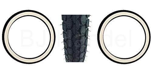 BJ-Handel 2X Continental Weißwand Reifen KKS 10 2 1/4 x19 (2,25 x 23) für Simson SR2, NSU, Kreidler, Zündupp