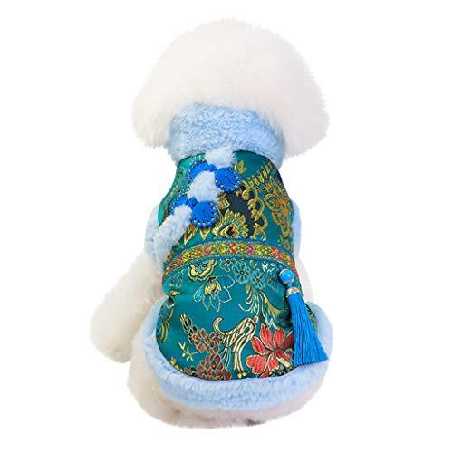 Yowablo Haustier Hund Katze Kleidung Tang Anzug zweibeinigen Baumwollmantel (S,2- Blau)