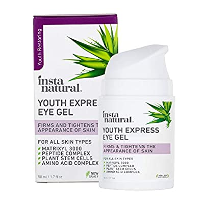 InstaNatural Eye Gel Cream - Wrinkle, Dark Circle, Fine Line & Redness Reducer - Pure & Organic Anti Aging Blend for Men & Women with Hyaluronic Acid - Fight Bags & Lift Skin Under Eyes – 50ml