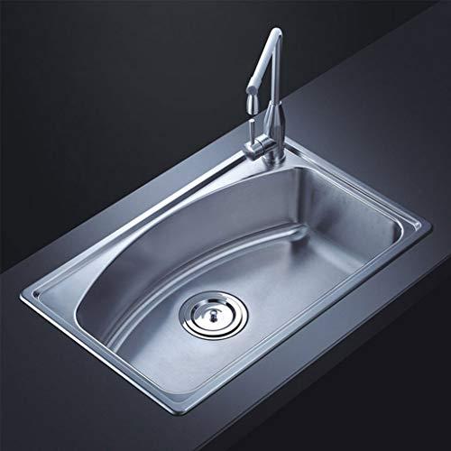 Évier monobloc en acier inoxydable brossé et épaissi Évier encastré résistant à la corrosion Meubles-lavabos