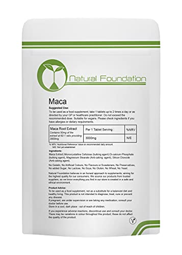 Maca Root Tablets 3000mg Vegetarian Vegan High Strength Energy Supplement Extract   Natural Foundation Supplements (30 Tablets)