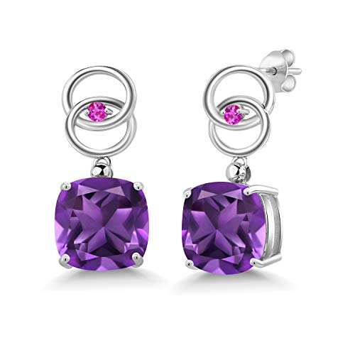 Gem Stone King 12.90 Ct Cushion Purple Amethyst Pink Sapphire 925 Sterling Silver Interlocking Circles Earrings