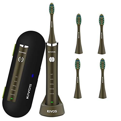 Elektrische Zahnbürste,Kivos Wiederaufladbare Schallzahnbürste, 5 Putzprogrammen, 2 Minuten Timer, IPX7 Wasserdicht, mit Reise-Etui mit UV-Reinigung, Ladestation und 5 Aufsteckbürsten