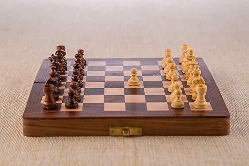 Rusticity® Juego de ajedrez magnético de madera con tablero plegable y piezas de ajedrez | hecho a mano | (7 x 7 pulgadas)