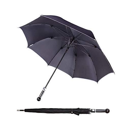 Sicherheitsschirm Bodyguard Regenschirm | Spazierstock zur Abwehr | sturmfest groß unbreakable Strong Umbrella | schwarzer Damen Herren tight Regenschirm