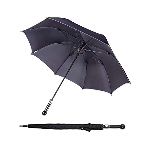 Sicherheitsschirm Bodyguard Regenschirm | Spazierstock Selbstverteidigung | sturmfest groß unbreakable Strong Umbrella | schwarzer Damen Herren tight Regenschirm