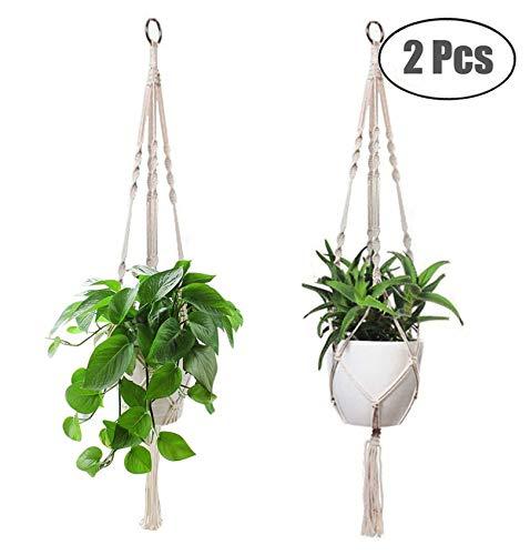 JYOHEY 2 Stück blumenampel pflanzenhänger Indoor Outdoor makramee blumenampel Blumentopfhänger Zimmerdekoration 1 Meter