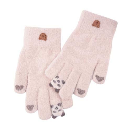 Guantes de Dedo Completo cálidos de Punto Grueso con Pantalla táctil de Panda de Dibujos Animados para Mujer-Khaki