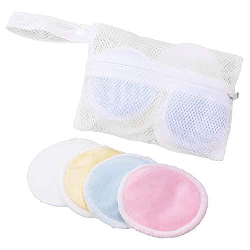 Frcolor Bambou Démaquillant trois couches Coussinets réutilisable doux visage Soin de la peau avec sac à linge Blanc 16 pcs