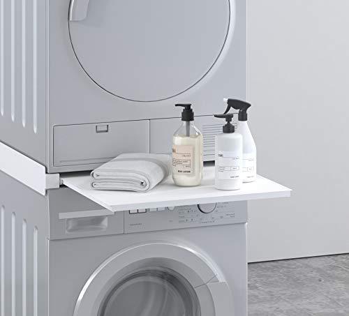 Piano supporto per lavatrice asciugatrice alluminio con cassetto, BIANCO