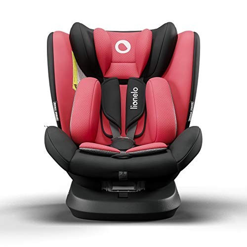 Lionelo Bastiaan One silla de coche bebe desde el nacimiento hasta los 36 kg giratoria a 360 grados Isofix Top Tether cinturón de seguridad de 5-puntos (Rojo)