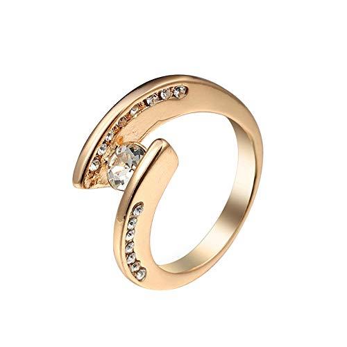 Beydodo Anillos de Compromiso Chapado en Oro Anillos de Compromiso Mujer Oro Irregular con Redondo Circonita Blanco Talla 22