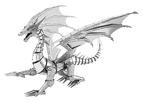 Metal Earth-502820 Silver Dragon Giocattolo da Costruzione, ICX023