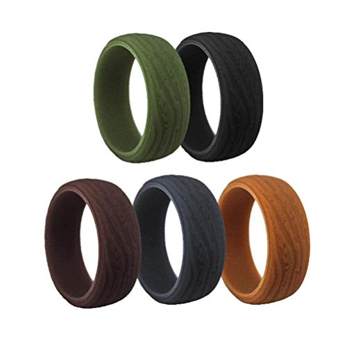 NANUNU 5 anillos de boda de silicona para hombre, textura de corteza, anillos de boda