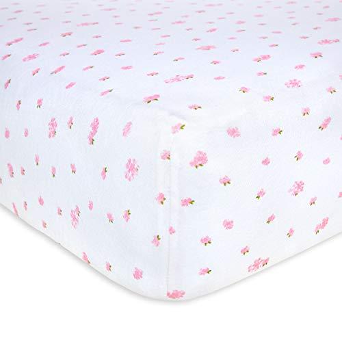 Burt's Bees Baby - Fitted Crib Sheet, Girls & Unisex 100% Organic Cotton Crib Sheet for Standard Crib and Toddler Mattresses (Blossom Butterfly Garden)