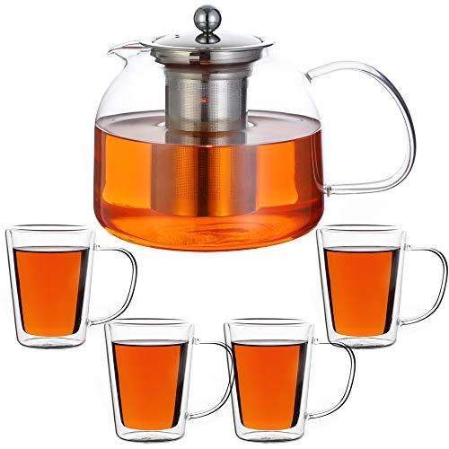 Monzana Teekanne inkl. 4er Set Teegläser Siebeinsatz 1,5 L Teebereiter Glaskanne Edelstahl Sieb Spülmaschinengeeignet