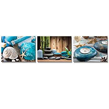 Visual Art Decor Zen Stone Spa Still Life with Blue Candles Piture Canvas Prints Wall Art Decor Gallery Warpped for Modern Bathroom Bedroom Spa Room Decoration