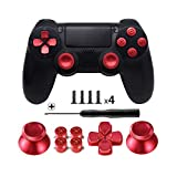 TOMSIN Metal Buttons for DualShock 4, Aluminum Metal Thumbsticks Analog Grip & Bullet Buttons & D-pad for PS4 Controller (Red)