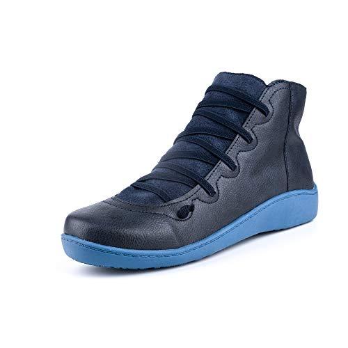 Botines Mujer Planos Invierno Botas Cuña Baja Zapatos con Cordones Cr