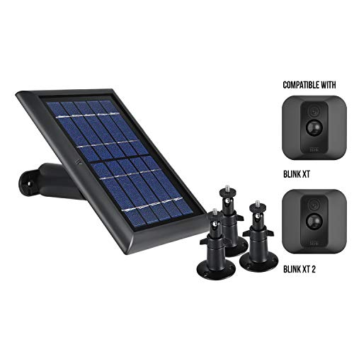 Wasserstein Bundle - Blink Black Solar Panel & 3-Pack Black Adjustable Metal Mount Compatible with Blink XT & XT2 ONLY