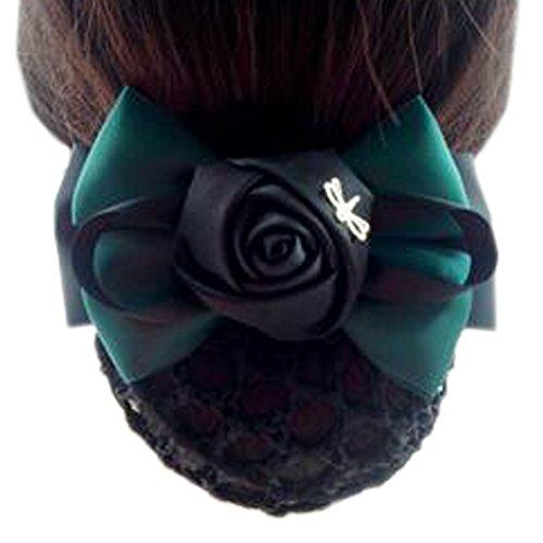 Fleur de dames, élastique, couvre-cheveux, cheveux, cheveux, Snood, Bowtie, mailles, 2 vert et noir