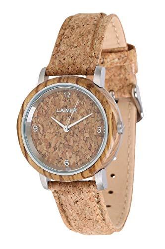 LAiMER Holzuhr - Armbanduhr Jutta aus Massivholz - analoge Damen Quarzuhr mit Zifferblatt und Uhrband aus Kork - Ø 36mm - Zero Waste Verpackung aus Naturholz