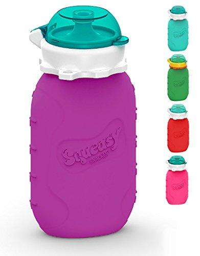 Squeasy Snacker, 180ml - Bolsa de Comida para Bebés Reutilizables | Para Batidos de Fruta Caseros, Yogurt y Zumos | Botella de Silicona, sin BPA (Violeta)