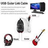 ベースエレクトリックギター-USBインターフェイスリンクケーブルオーディオレコーダーアダプターPC向け/MAC音楽録音アダプター用(色:黒)