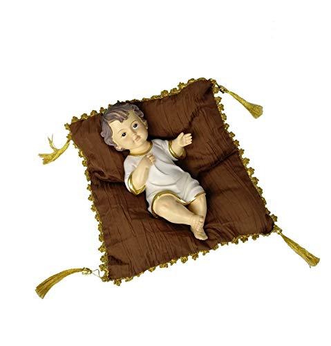 DRW Niño Jesús con cojín marrón y Dorado 28 cm (Vestido)