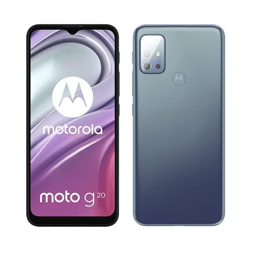 Motorola Moto g20 (Pantalla de 6.5' 90Hz, procesador octa-core, sistema de cuatro cámaras de 48MP, batería de 5000 mAH, 4/64 GB, Dual SIM, Android 11), Azul [Versión ES/PT]