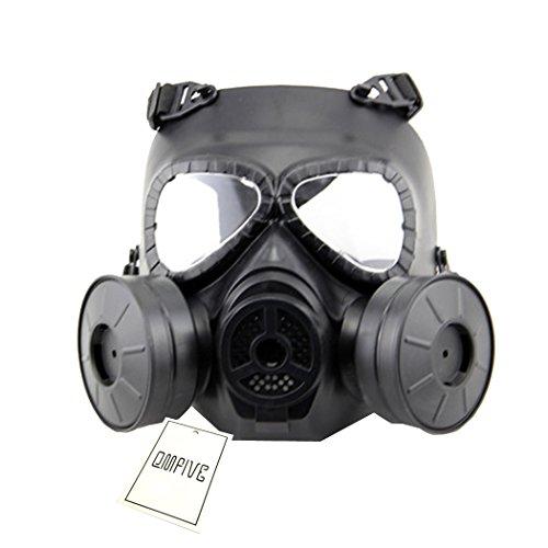 Táctico Máscara QMFIVE Dummy Anti Niebla máscara de Gas M04 con Doble Ventilador Airsoft paintbal protección Gear(Negro)