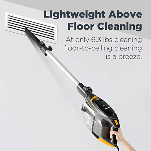 Eureka Flash Lightweight Stick Vacuum Cleaner, 15KPa Powerful Suction, 2 in 1 Corded Handheld Vac for Hard Floor and Carpet, Black