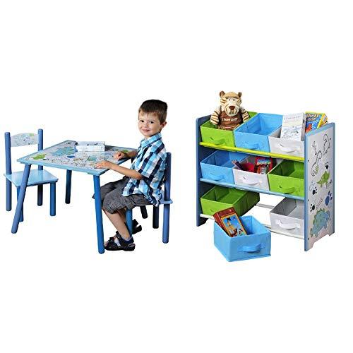 Kesper 17721 1 Kindertisch mit 2 Stühlen, Motiv: Dino, MDF farbig lackiert, FSC & Aufbewahrungsregal, Holz, Stoff, Blau, 66 x 30 x 59,5 cm