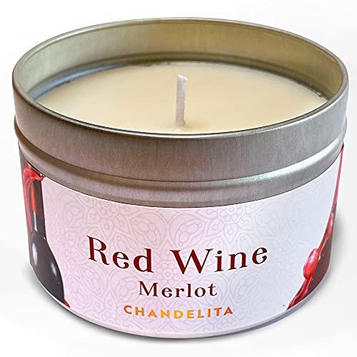 Chandelita Candela Profumata al Vino Rosso Merlot con Cera di Soia Naturale per Meditare e Rilassare Mente e Corpo Godendo di una Sensazione di Benessere