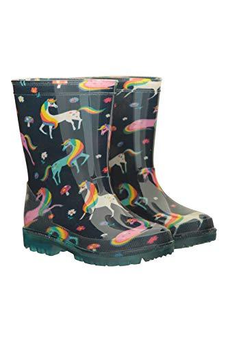 Mountain Warehouse Splash Kinder-/Junior-Gummistiefel mit Blinkleuchten - robuste Schuhe mit Blinksohlen, leicht zu reinigende Wanderschuhe - ideale Regenstiefel Beerenton 28