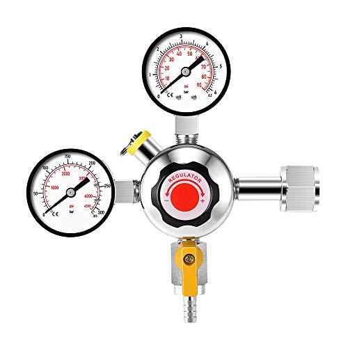 Regulador de cerveza Kacsoo CO2, regulador C02 de doble calibre, con válvula de ventilación de seguridad, presión de botella 0-4500PSI, para cerveza de barril de cerveza casera Kegerator