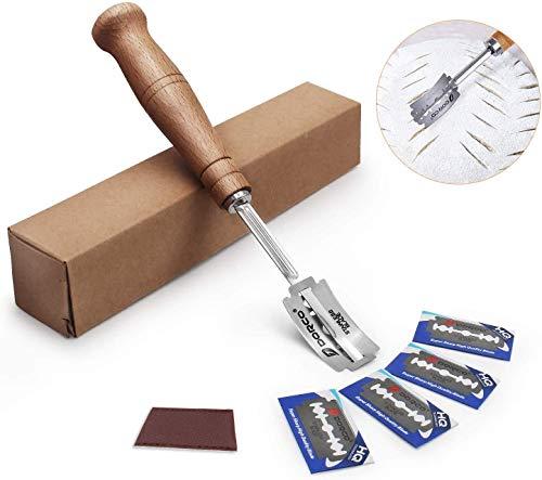 Generies Couteau à Pain Pain Lame avec 5 Lames et Housse de Protection en Cuir pour Cuisine de Cuisson de Pâte à Pain Bricolage