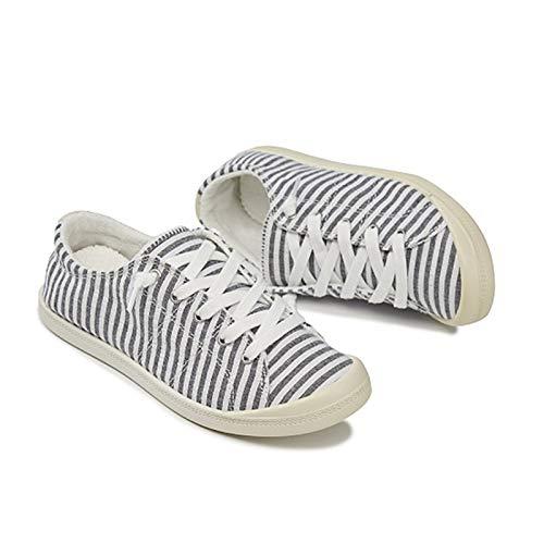 LYDBM Talla Grande 43 Mujeres Zapatos de Lona Zapatillas de Leopardo Zapatillas de Leopardo Zapato Vulcanizado de talón Vulcanizado. (Color : Black Pinstripe, Talla : 10.5)