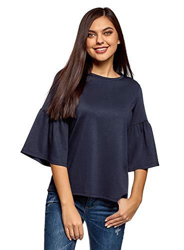 oodji Ultra Donna T-Shirt Comoda con Volant sulle Maniche, Blu, IT 50 / EU 46 / XXL
