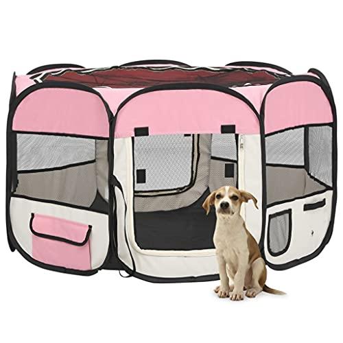 LINWXONGQP Material: Poliéster, Acero Parque de Perros Plegable y Bolsa Transporte Rosa 110x110x58cm