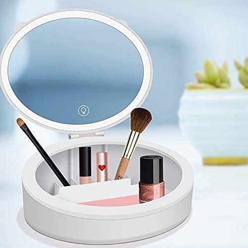 ZMY Kosmetische Schmuckaufbewahrungstasche mit LED Makeup-Spiegel Hautpflege Schmuckschatulle Desktop-Finishing-Gehäuse Staubfestes Lippenstift-Rack-Make-up-Organizer (Farbe : Weiß)