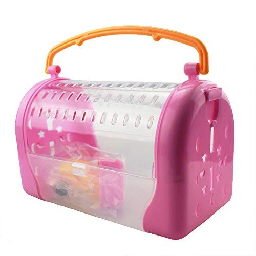 EGFheal Transportkäfig für Vögel, mit Sichtfenster, für Papageien, leicht, tragbar, atmungsaktiv, für Hamster, mit Flasche, Rosa / Rot