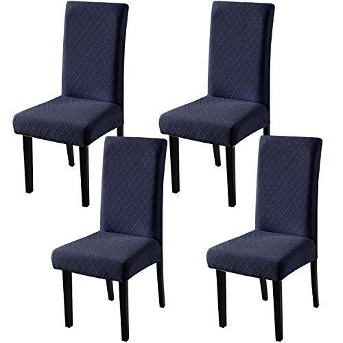 YISUN Universal Stretch Stuhlhussen 4er 6er Set Stuhlbezug für Stuhl Esszimmer (4er Set, Dunkelblau)