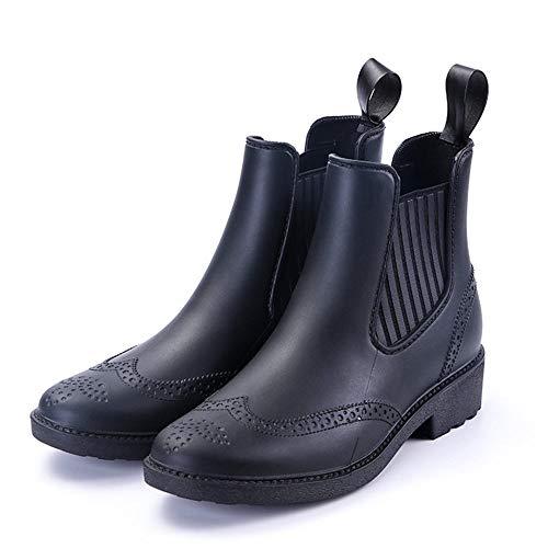 ZWXDMY Bottes De Pluie,Bande Élastique Noir Imperméable Vêtements pour Femmes A Fait des Bottes De Pluie Faible Antidérapant Bottillons Chaussures Occasionnels De Mode,37