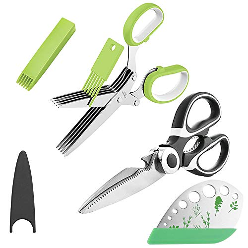 Find Bargain OHENNY Heavy Duty Kitchen Shears and Herb Scissors Herb Stripper Set, Combo Kit of Stai...
